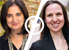Women's Voices Amplified - Mallika Chopra '93 on Reducing Stress and More; Mallika Chopra '93 and Caitie Whelan '07.5 with a play button overlay