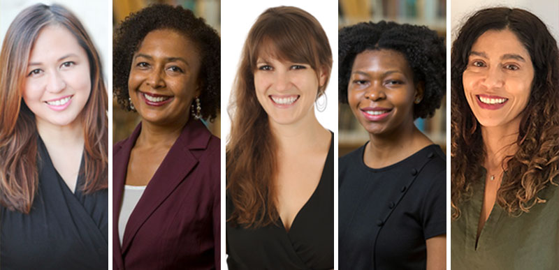 A collage of the five new faculty members: Lisa Biggs, Leila Lehnen, Ellie Pavlic, Patience Moyo, and Jennifer Navareno