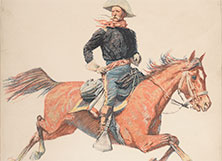 A print of a man on a horse