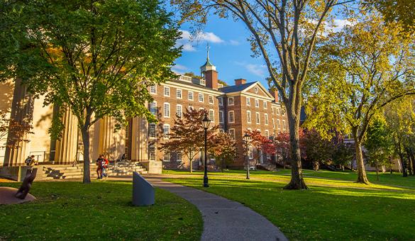University Hall amongst fall leaves
